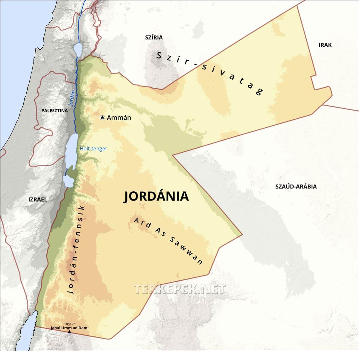 jordánia térkép Jordánia domborzati térképe jordánia térkép